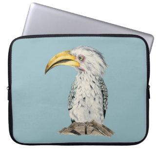Gelb-Berechnete Hornbill-Aquarell-Malerei Laptop Sleeve