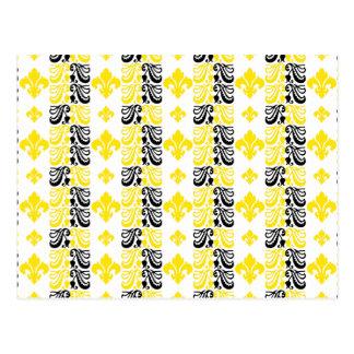 Gelb Fleur Streifen-1a Postkarten