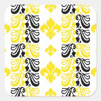 Gelb Fleur Streifen-1a Quadrat-Aufkleber