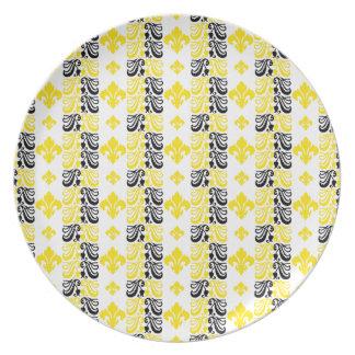 Gelb Fleur Streifen-1a Flacher Teller