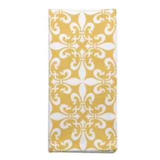 Gelb French Fleur de Lys Pattern Stoffserviette