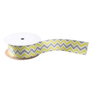 Gelb, graues weißes großes Zickzack Satinband
