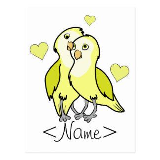 Gelb-Liebe-Vögel des Valentines Tagesmit Herzen Postkarte