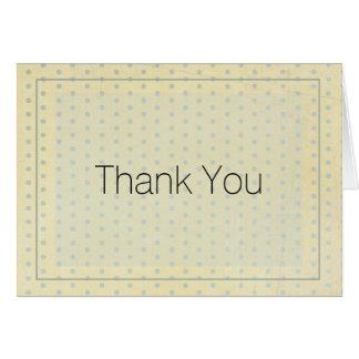 Gelb mit blauem Tupfen danken Ihnen zu kardieren Karte