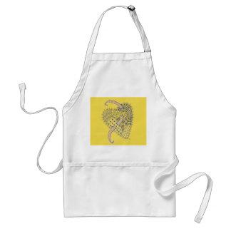 Gelb mit Gekritzel-Kunst-Herzen Schürze