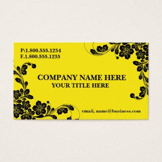 Gelb mit schwarzem Blumenmuster Visitenkarte