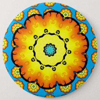 Gelb-orangee Blume mit blauem Hintergrund Runder Button 15,3 Cm