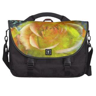 gelb-orangee Blüte Rosenmuster Pendler-Tasche Laptop Taschen