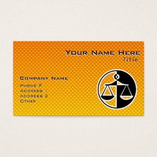 Gelb-orangee Gerechtigkeits-Skalen Visitenkarte