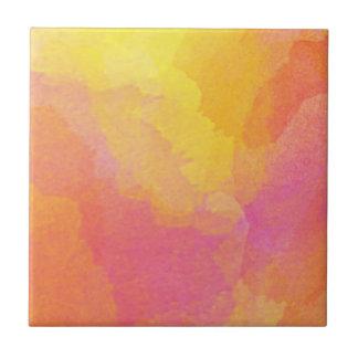 Gelb-orangee rosa Watercolor-Wäsche-abstrakte Fliese