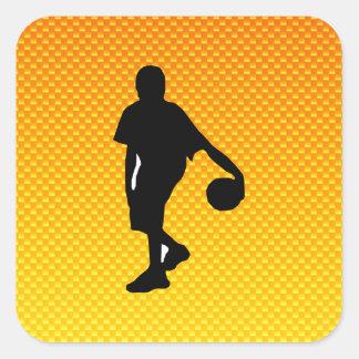 Gelb-orangeer Basketball Quadratischer Aufkleber