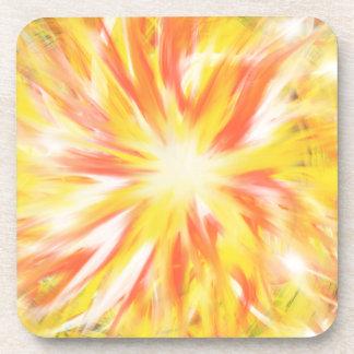 Gelb-orangeer Flammen-Feuer-Stern-abstrakter Untersetzer