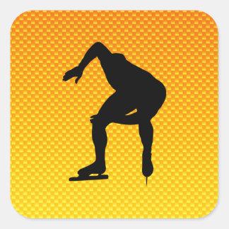 Gelb-orangeer Geschwindigkeits-Skater Quadrataufkleber