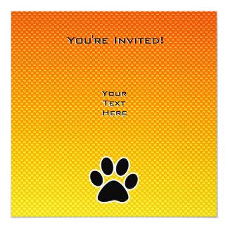 Gelb-orangeer Tatzen-Druck Quadratische 13,3 Cm Einladungskarte