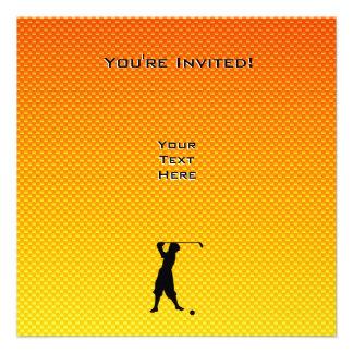 Gelb-orangeer Vintager Golfspieler Einladungen