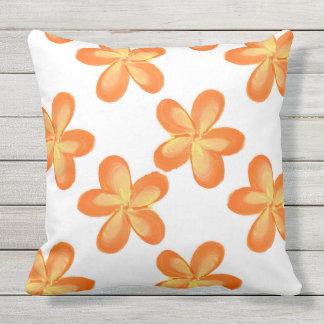Gelb-orangees Blumen-Muster Kissen Für Draußen