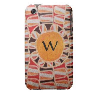 Gelb-orangees rotes Schwarzes DES iPhone 3 Case-Mate Hüllen