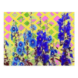 Gelb-Rosa Gitter-blaue Blumen-Gartengeschenke - Postkarte