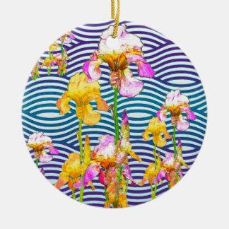 Gelb-Rosa Iris-Wasser-Garten Keramik Ornament