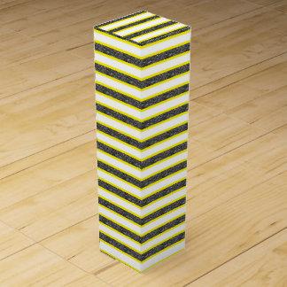 Gelb umrissene statische schwarze Streifen Weinbox