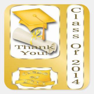 Gelb und GoldAbschluss danken Ihnen Umschlag Quadratischer Aufkleber