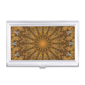 Gelb und Goldherbst-Mandala-Kaleidoskop Visitenkarten Etui