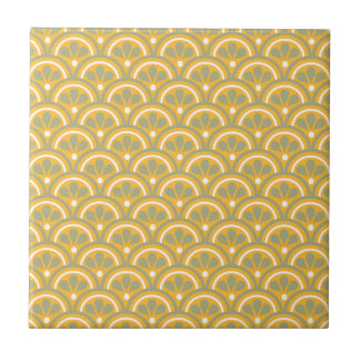 Gelb und kakifarbiges Blumenkunst-Deko-Muster Keramikfliese