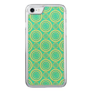 Gelb und Minzen-grünes geometrisches Kreis-Muster Carved iPhone 8/7 Hülle