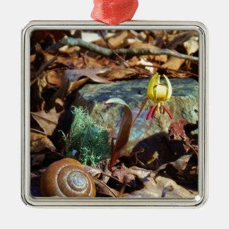 Gelb und Pflaumen-Forelle-Lilie und Quadratisches Silberfarbenes Ornament