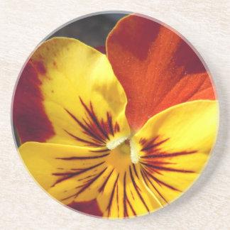 Gelb und rostiger roter Pansy Sandstein Untersetzer