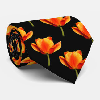 Gelb-und-Rote gestreifte Tulpen Bedruckte Krawatte