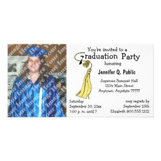 Gelbe Abschluss-Party-Foto-Einladung Individuelle Photo Karten