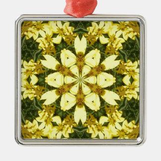 gelbe abstrakte Entwurfsmit blumengänseblümchen Quadratisches Silberfarbenes Ornament