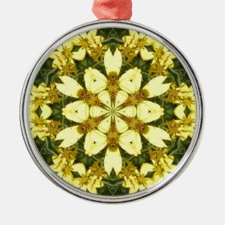 gelbe abstrakte Entwurfsmit blumengänseblümchen Rundes Silberfarbenes Ornament