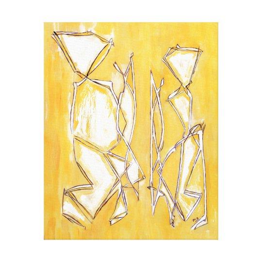 gelbe abstrakte kunst paar malerei von lux belkadi leinwanddruck zazzle. Black Bedroom Furniture Sets. Home Design Ideas