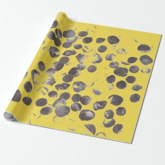 Gelbe abstrakte Schwarz-Punkte 170256 Geschenkpapier