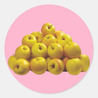 Gelbe Äpfel Runder Aufkleber