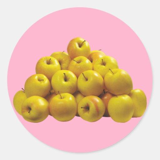 Gelbe Äpfel Runde Aufkleber