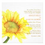 Gelbe Aquarell-Sonnenblume-Blumenhochzeit lädt ein