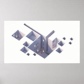 Gelbe Architektur der Laternen-01 Poster