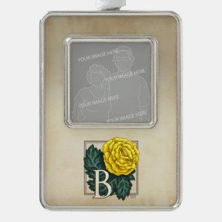 Gelbe Begonien-personalisiertes Monogramm Rahmen-Ornament Silber