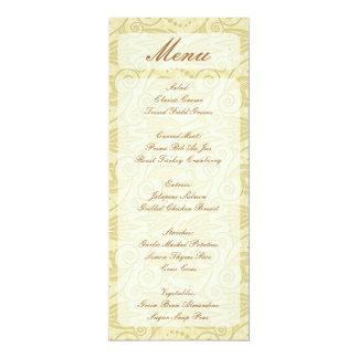 Gelbe beige Wirbelsgestellart-Menükarten 10,2 X 23,5 Cm Einladungskarte