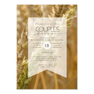 Gelbe Bio Paar-Duschen-Einladung des Weizen-| 12,7 X 17,8 Cm Einladungskarte