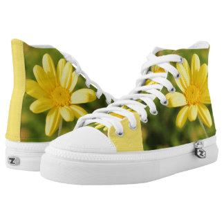 Gelbe Blume sonnige und positive Turnschuhe Hoch-geschnittene Sneaker