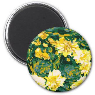 Gelbe Blumen des Geheimnis-Gartens #8 Runder Magnet 5,1 Cm