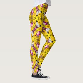 Gelbe Blumen-geometrische Gamaschen Leggings