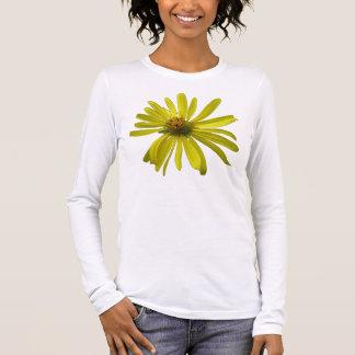 Gelbe Blumen-lange Hülse Langarm T-Shirt
