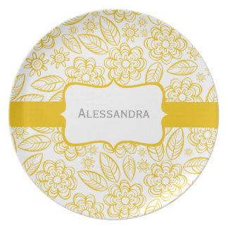 gelbe Blumen u. Blätter auf Weiß mit Aufkleber Party Teller
