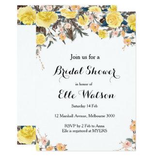 Gelbe BlumenBrautparty-Einladung Karte