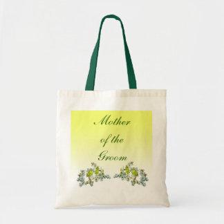 Gelbe Blumenhochzeits-Mutter des Bräutigams Tragetasche